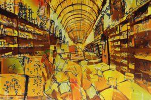 Berliner Gewürzladen und Al-Buzuriyeh Souq in Damaskus. Zeichnung von Studio Khaled Barakeh auf Basis einer Fotografie von Guevara Namer (2019)