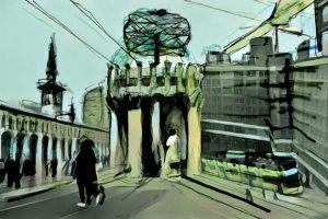 Weltzeituhr Berlin Alexanderplatz und Umayyad Moschee Damaskus. Zeichnung von Studio Khaled Barakeh auf Basis einer Fotografie von Guevara Namer (2019)