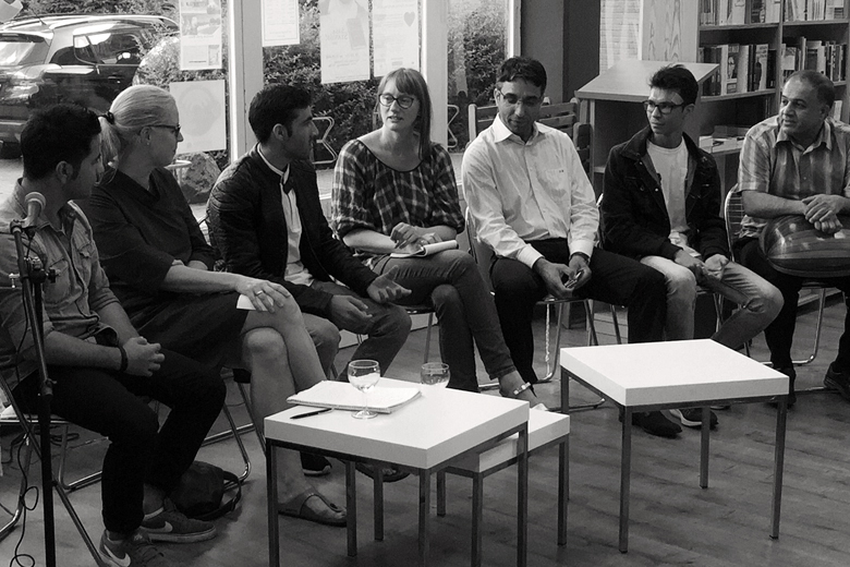 Two Syrians, one Iraki and one Afghani told about their hope, wishes and aims in Germany to the audience but also about their fate and the causes of their escape. Hamburg 2016. Photo: Private
