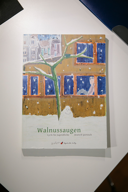 """Cover der zweisprachigen Anthologie """"Walnussaugen"""" aus dem Hagebutte Verlag, übersetzt von Ayeda Alavie."""