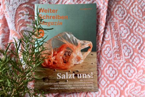 """Cover der dritten Ausgabe des Weiter Schreiben Magazins """"Salzt uns"""""""